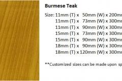 Burmese teak size